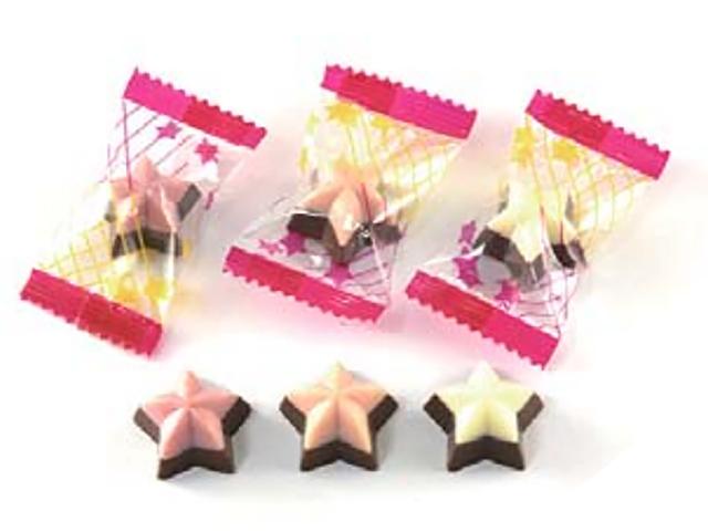 製菓材料,トッピング,業務用,菓子,卸,包装菓子,プティギフト,チョコレート,星,スター,ミルクチョコレート,ストロベリーチョコレート,ホワイトチョコレート,